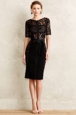 Love the mixed texture. Would take off the bow and hem an inch, Carissima Sheath- Anthropologie