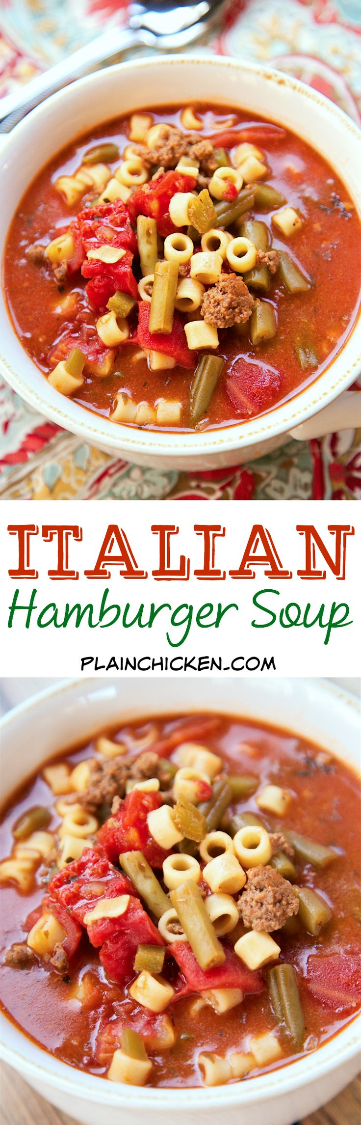 Italian Hamburger Soup - ground beef, peppers, stewed tomatoes, green beans, tomato sauce, oregano, basil and pasta - SO good! We ate this two days in a row. Makes a ton - freezes well.