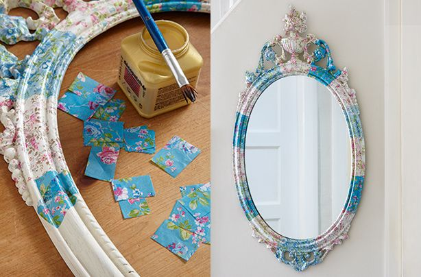 How to make a decoupage mirror -  thinking of updating a basic mirror with this technique with maps use it for the wedding and keep it for the house