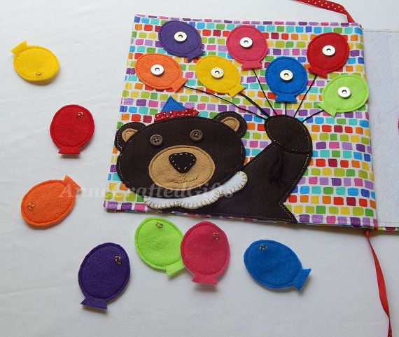 This fun, handmade toy for little kids is a great gift idea. Also creative ideas for your own felt quiet book page.  Children learn to match colors with the circus bear and balloons. #AnneCraftedGifts