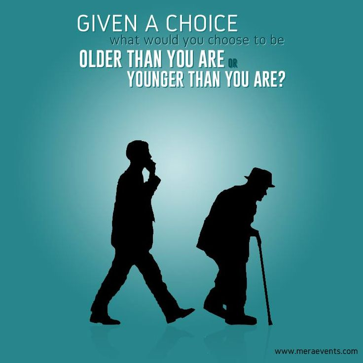 Given a choice, what would you choose to be older than you are or younger than you are?  #MeraEvents #Younger #Older #Choice