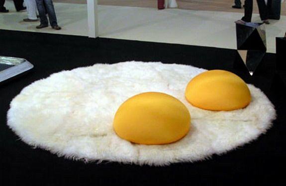 weird! Egg rug and yoke pillows