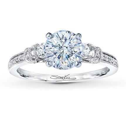 1.21 Carat I-I1 Very Good Cut Round Diamond plus Scott Kay Ring Setting 1/3 ct tw Diamonds 14K White Gold