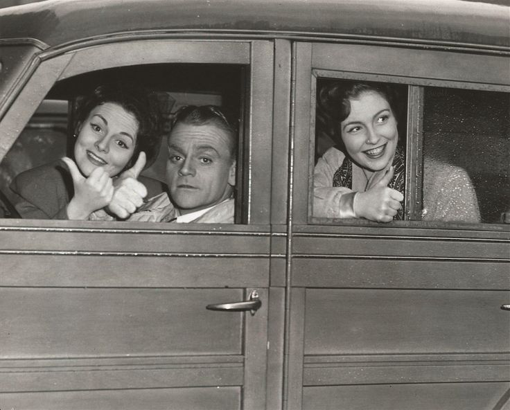 James Cagney with his sister Jeanne and Joan Leslie carpooling in the Cagney wagon during the making of Yankee Doodle Dandy