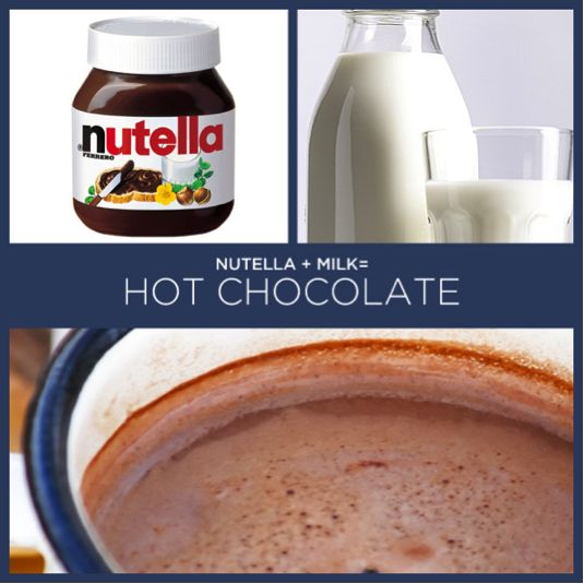 Hot chocolate - Nutella and milk | Hot cocoa | Pinterest