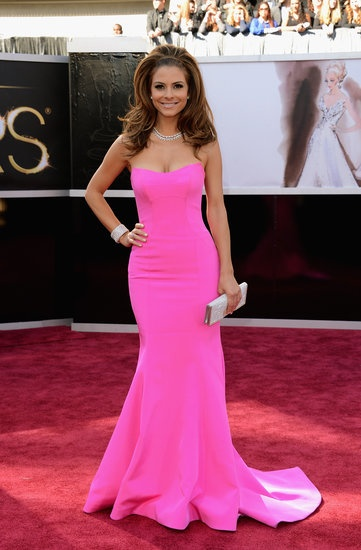 Best Oscars Dresses 2013: Maria Menounos chose a curve-hugging hot-pink strapless gown.