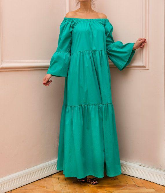 NEW SS16 collection, Green Maxi dress, Boho Dress, Plus size dress, Long Dress, Satin Dress, Dress with Pockets, Long sleeves dress