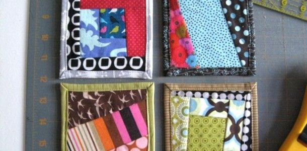 Coasters from fabric scraps, how cool is that.....