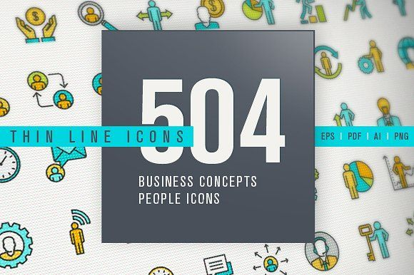 Thin Line People Icons Bundle by PureSolution on @creativemarket