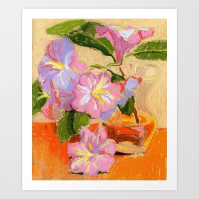Light Rhododendron Blossom. Soft pastel painting. Still life. Art Print by Kira Sokolovskaya - $14.48