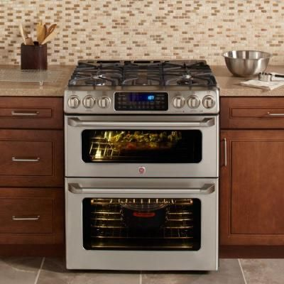 GE 6.7 cu. ft. Double Oven Gas Range with Self-Cleaning Convection Oven in Stainless Steel