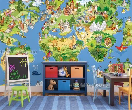 Carta da Parati Bambini, Poster Murali & Stampe su Tela Mappa Mondo