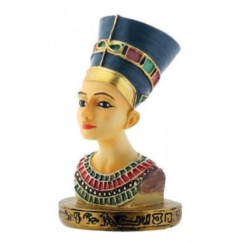 """Nefertiti Egyptian Queen Bust Mini Statue - Price: $9.00 Nefertiti means """"the Beautiful one is Come"""". The bust of painted limestone was found by the German professor Borchardtt in 1912 at Tel-El-Amarna ancient Akhetaton which was the King's new capital in Middle Egypt in what used to be the workshop of the sculptor Thutmes. Nefertiti was the daughter of a high dignitary of the Pharaoh's court. She was the wife of King Akhenaton who ruled from 1379 to 1362 b.c. The original of this beautiful…"""