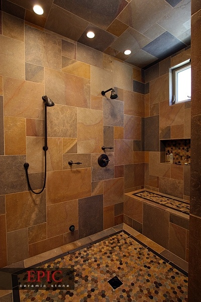 Create Photo Gallery For Website EPIC Ceramic u Stone Stone bathroom shower with bench and mosaic floor