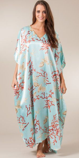Satin Charmeuse Caftan - One Size Lounger in Seaglass