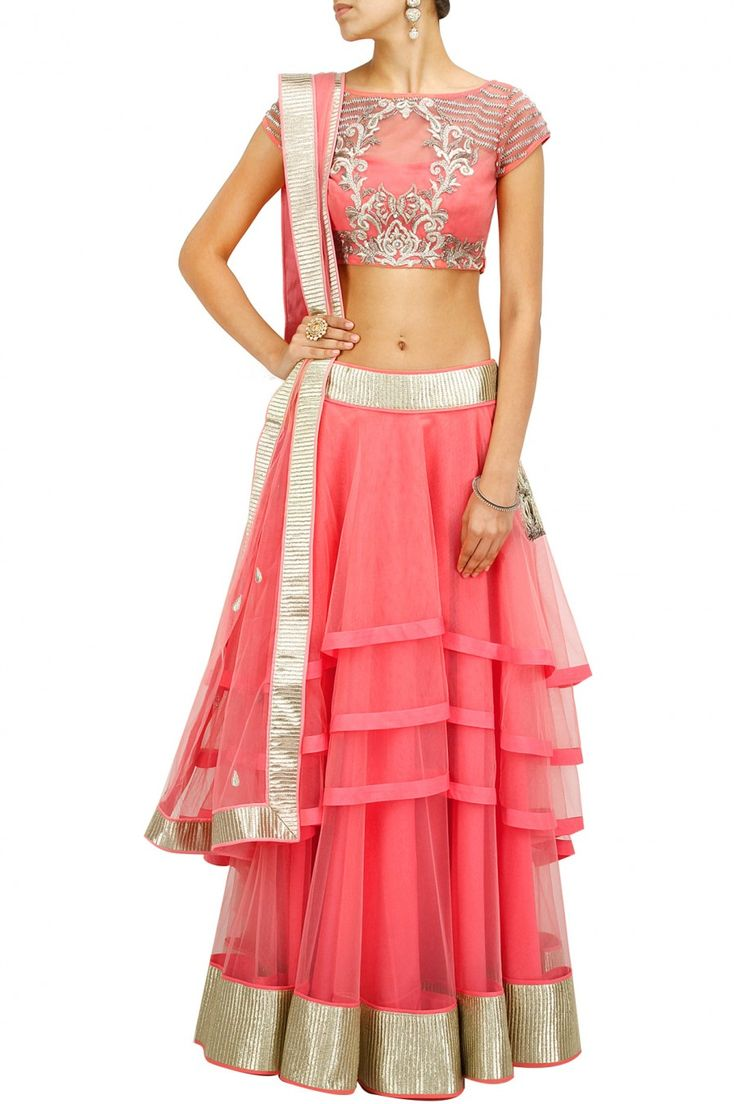 Candy pink embroidered multi layer lehenga set BY JADE BY MONICA AND KARISHMA.