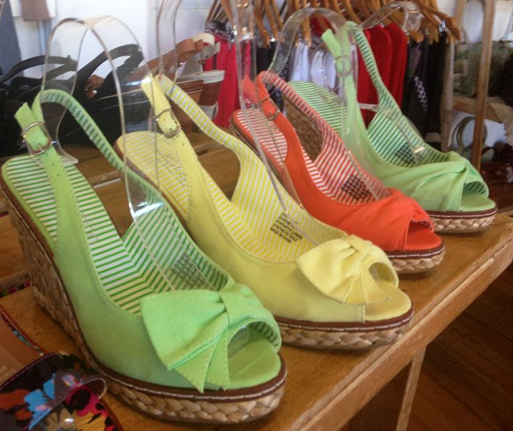 The Wedge:  Bright canvas wedges are a summer wardrobe 'must-have'. Chic, practical and classic. Pretty girls.