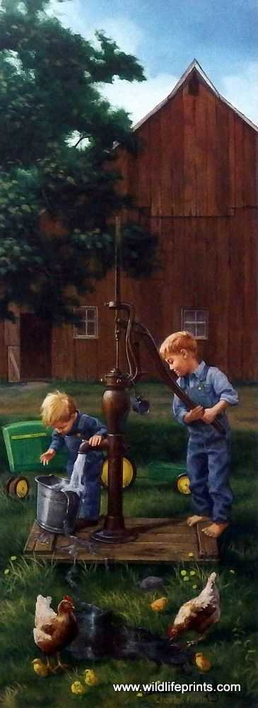 In A Helping Hand, Charles Freitag created another great children's farm print. Theboys are riding their John Deere pedal tractor over to the old hand pump.