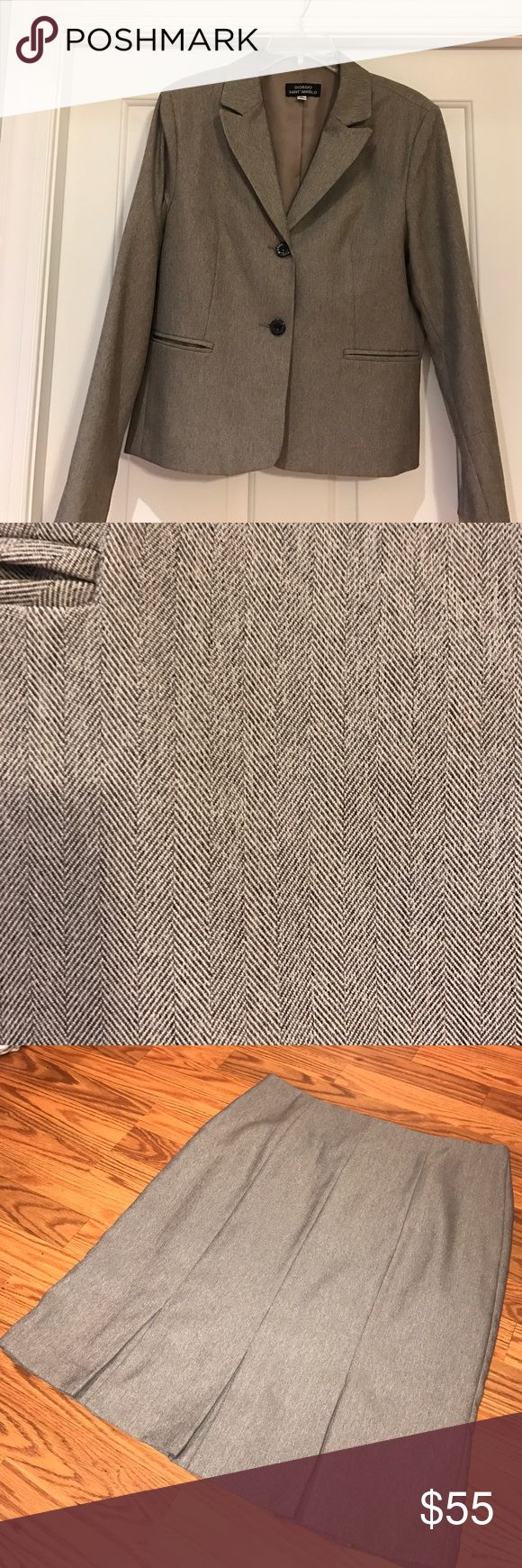 Woman's suit Tan herringbone suit- jacket and skirt Other