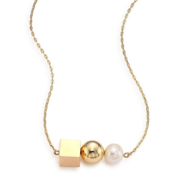Tomtom Modern Modular 13MM Round White Pearl Pendant Necklace ($250) ❤ liked on Polyvore featuring jewelry, necklaces, apparel & accessories, gold, 18k necklace, 18k pendant, white necklaces, white pendant necklace and 18 karat gold necklace