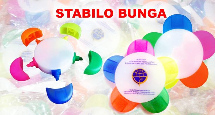 Souvenir Stabilo Bunga, Stabilo 5 in 1, Stabilo Bunga 5 warna, Pen Stabilo Bunga dengan 5 warna tinta