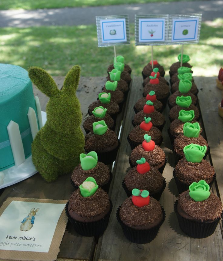 Vegetable garden cupcakes, with fondant cauliflower, radishes and lettuce - also made for the Peter Rabbit party.