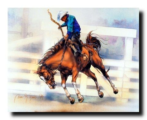 Upgrade the interiors of your house by putting this western rodeo cowboy riding art print poster. This amazing wall poster surely leaves a long lasting impression on your guests. It will be a great addition for any home décor and ensures high quality with perfect color accuracy. Enjoy your surroundings.