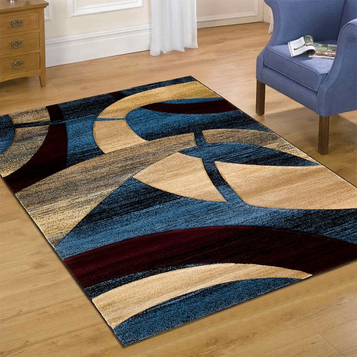 """AllStar Rugs Carved Circles Modern Abstract Geometric Area Rug. Size: 3'9"""" x 5'1"""""""