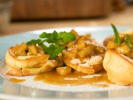 Mini German Pancakes with Apple-Calvados Caramel Sauce : Recipes : Cooking Channel
