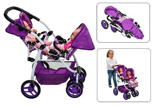 Realistic Dolls Pram Girls Double Buggy Baby PushChair Purple Twin Doll Stroller #SmartDealsMarket