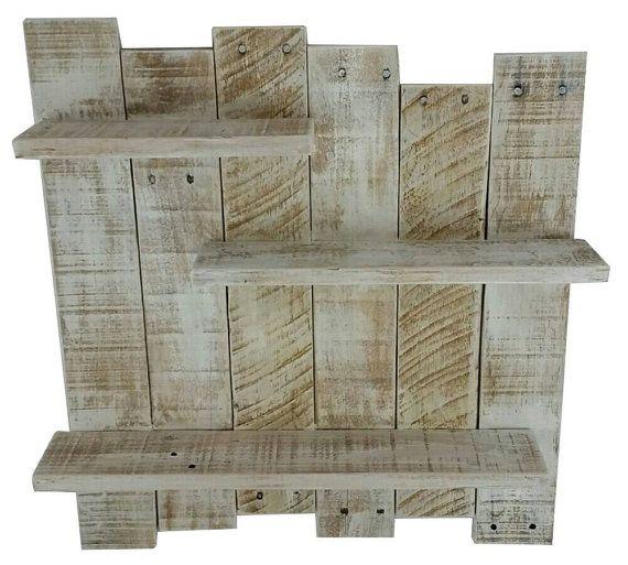 Palette blanc étagère en bois, décoration murale, blanc récupéré étagère murale en bois, étagère blanche, plateau blanc rustique, rustique plateau plateau Decor