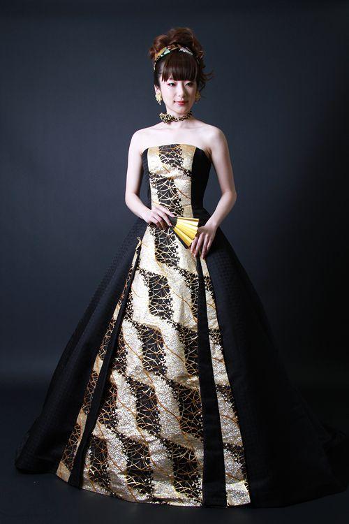 和ドレス・ウエディングドレスのドレスオーダー・レンタルドレスはアリアンサ|和ドレス・霞錦 Modern kimono inspired wedding dress by Aliansa Japanese designer