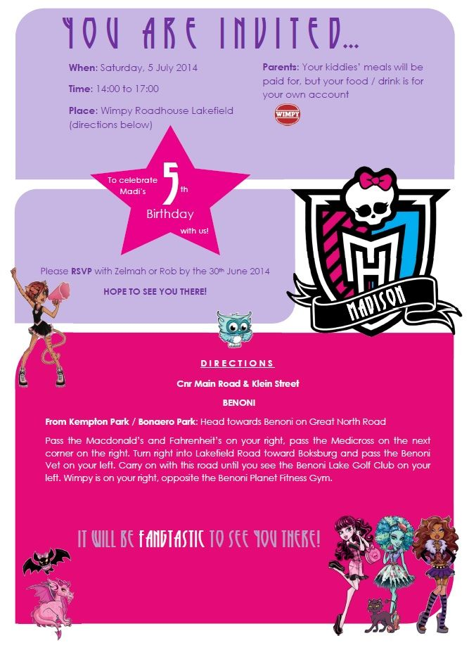 """This year's Monster High theme, for my step-daughter's 5th Birthday...I discarded the hard """"teenage"""" colours, and designed a softer """"little girl"""" look...Madi is besotted with MH....at the moment ;)"""