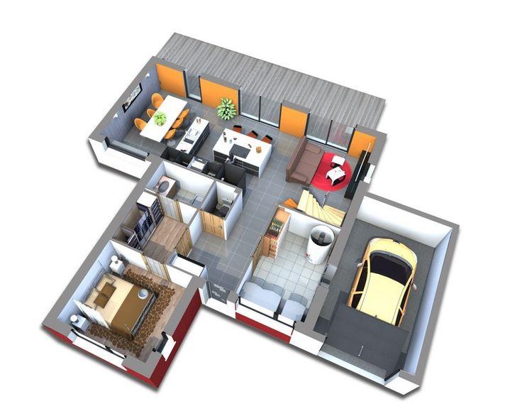 Maison, gamme les actuelles. Modèle Yasumi. Vue intérieure rez de chaussée