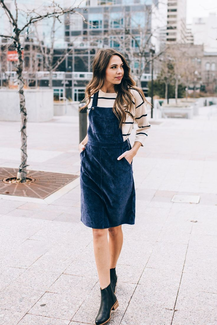 The Olivia Corduroy Jumper Dress in Indigo
