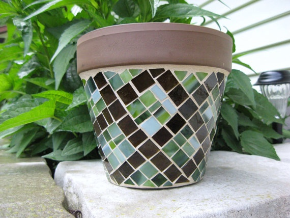 Stained Glass Mosaic Planter in Brown and by valleybeadglassart, $24.00