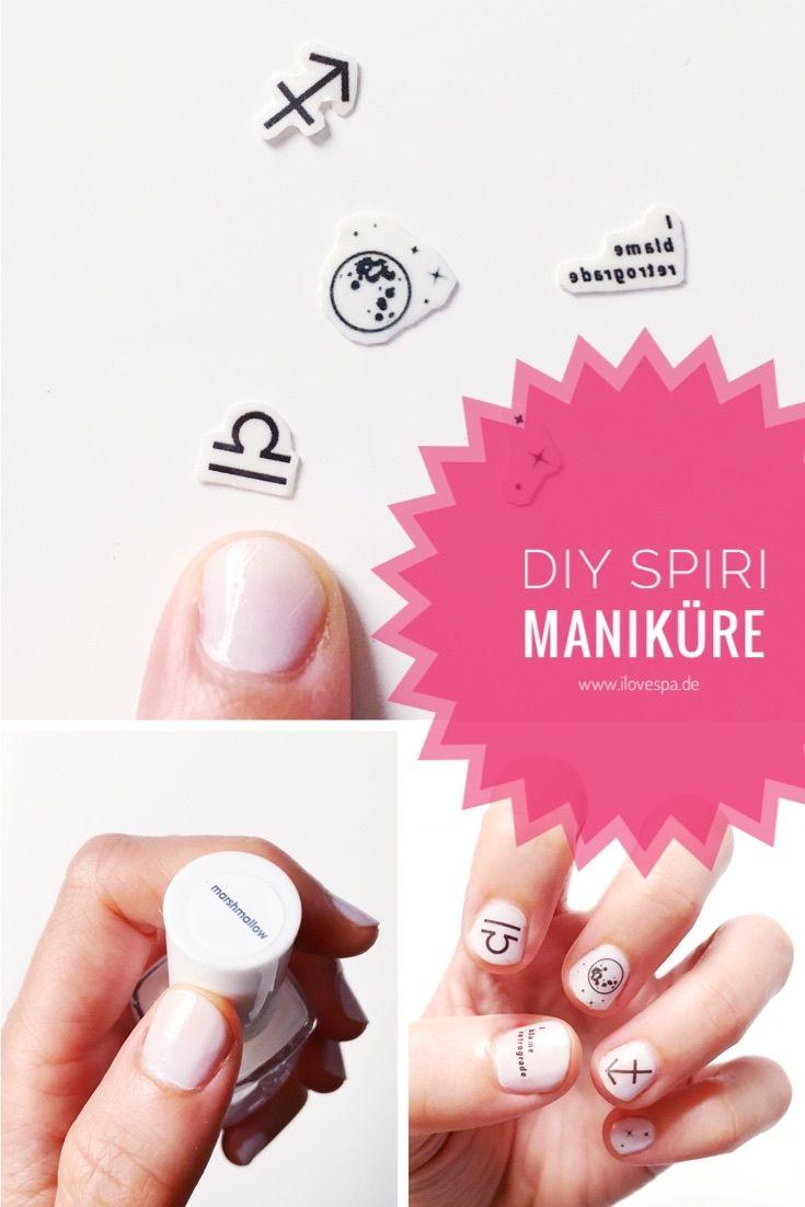 DIY Maniküre mit Mondphasen und Sternzeichen - Nageldesign schlicht - Nageldesign kurze Nägel mit Nail Decals