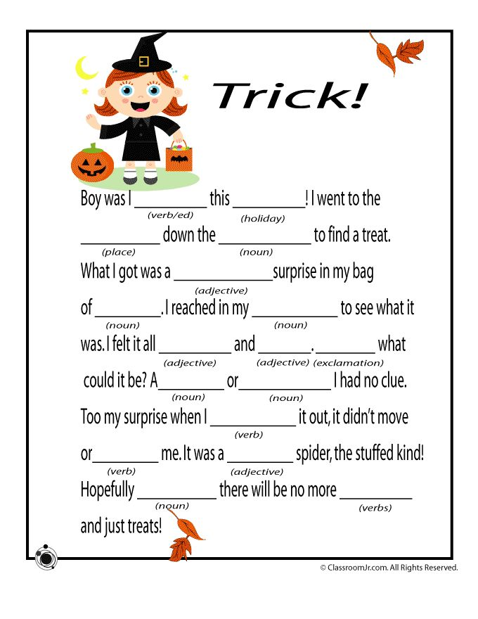 Delicate image throughout halloween mad libs printable