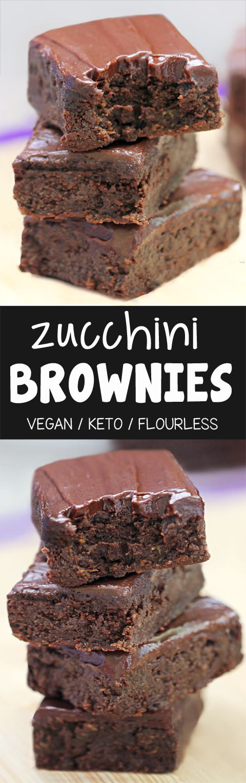 Chocolate Fudge Zucchini Brownies, with keto and vegan options!