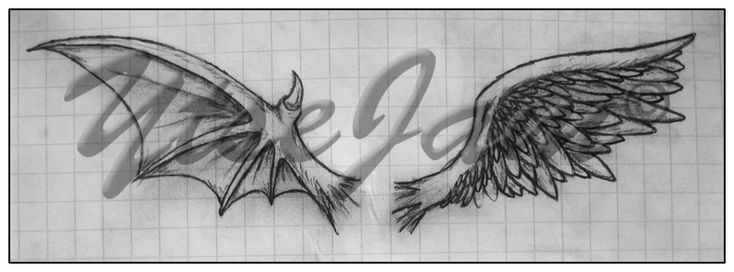Evil Wings Drawing Good And Evil Wing Tattoo Designs Wings fo good and ...
