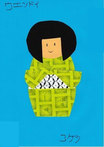 Une poupée Kokeshi en decoupage/ collage de papiers - La classe de WJL