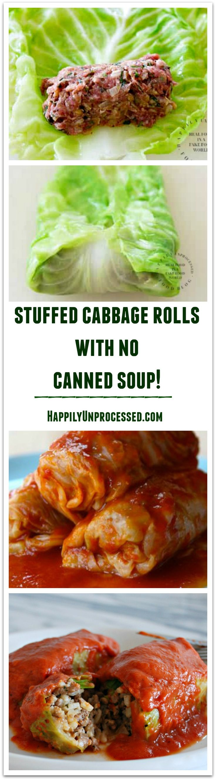 Stuffed cabbage with beef, pork, rice and spices with NO CANNED SOUP!  #stuffedcabbage #nocannedsoup #happilyunprocessed