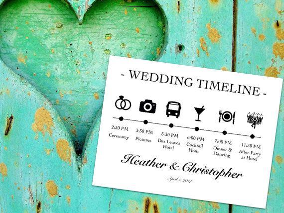 For the Welcome Bags at the Hotel - Printable Wedding timeline!
