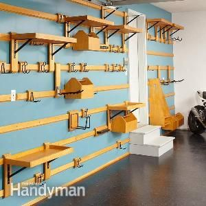 Organize your garage with this wall storage system. You can easily customize it to fit any space and it can hold just about anything.