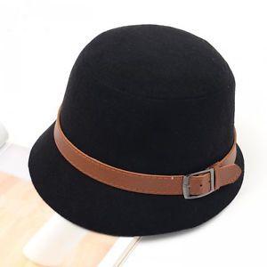 Vintage Lady Women Wide Brim Bowler Fedora Wool Felt Hat Bucket Cap New