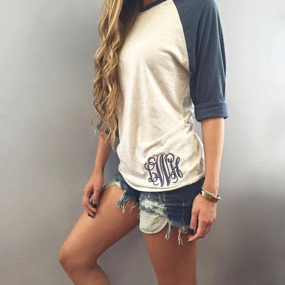 Monogrammed Raglan Tee by Caddybug on Etsy