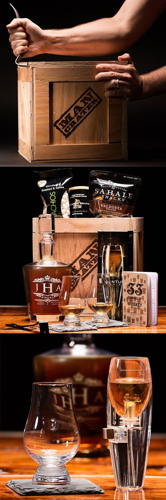 Whiskey Connoisseur Crate.  Perfect for Whiskey loving dads. | ManCrates