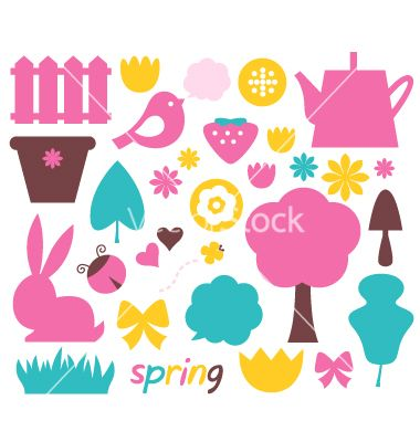 Cute spring and easter colorful design elements vector 1228525 - by lordalea on VectorStock®