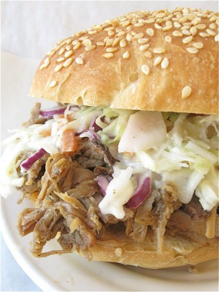 Recipes: Pulled pork (suitable for either stove top or crockpot; step by step photos included); BBQ sauce; creamy coleslaw; link to  deli-style hard rolls