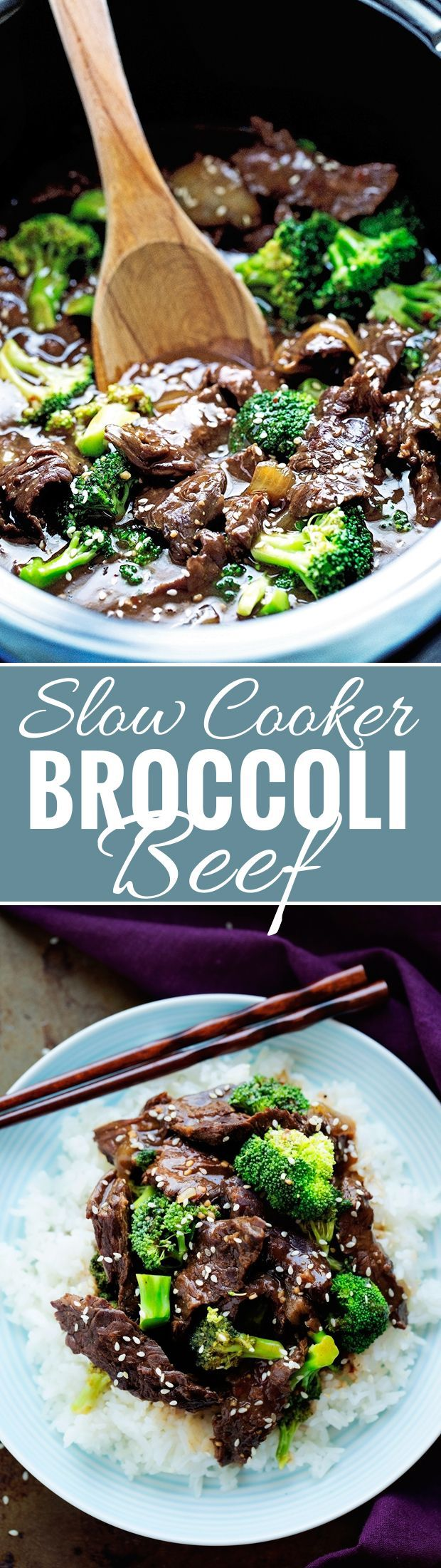 Slow Cooker Broccoli Beef - Thinly sliced tender beef with tons of crunchy broccoli, it's healthy and DELICIOUS! #broccolibeef #beefwithbroccoli #slowcooker #crockpot | Littlespicejar.com @littlespicejar